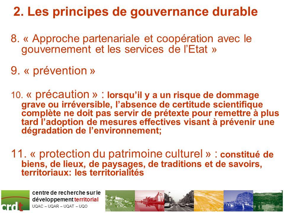 2.Les principes de gouvernance durable 12. « préservation de la biodiversité » 13.