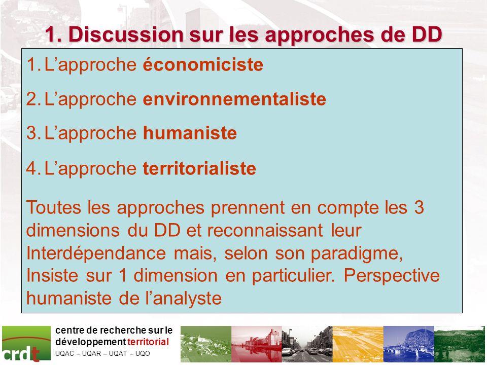 1. Discussion sur les approches de DD centre de recherche sur le développement territorial UQAC – UQAR – UQAT – UQO 1.Lapproche économiciste 2.Lapproc