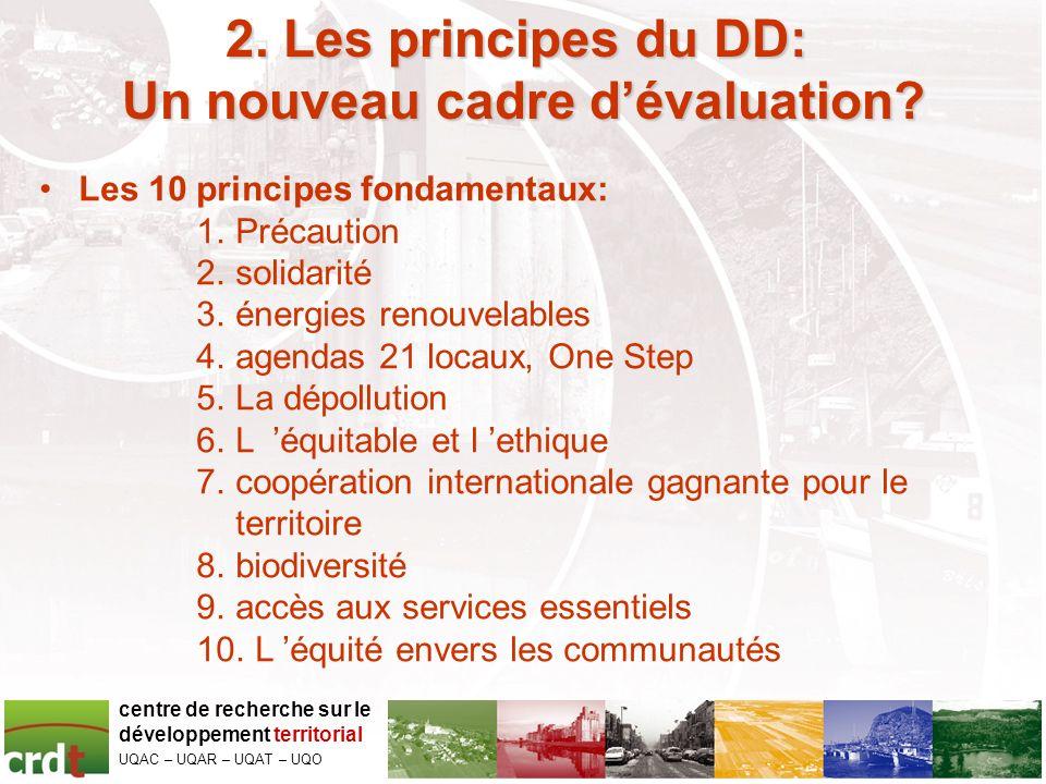 2.Les principes du DD: 2. Les principes du DD: Un nouveau cadre dévaluation.