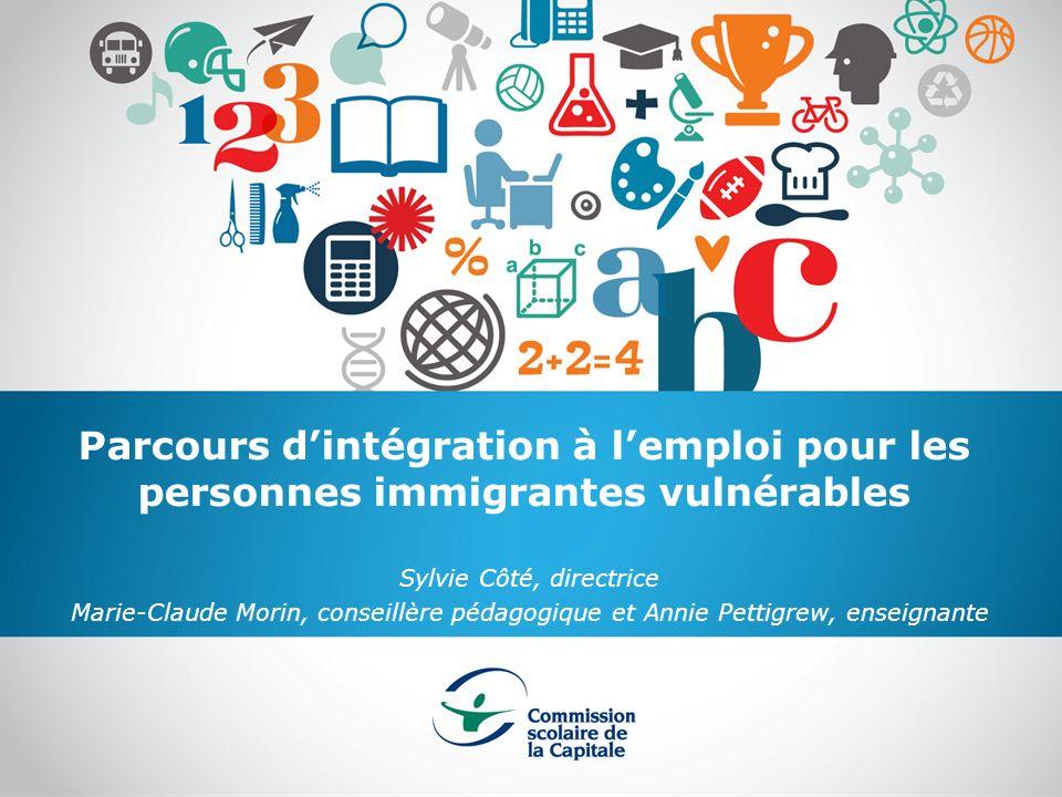 Parcours dintégration à lemploi pour les personnes immigrantes vulnérables Sylvie Côté, directrice Marie-Claude Morin, conseillère pédagogique et Anni