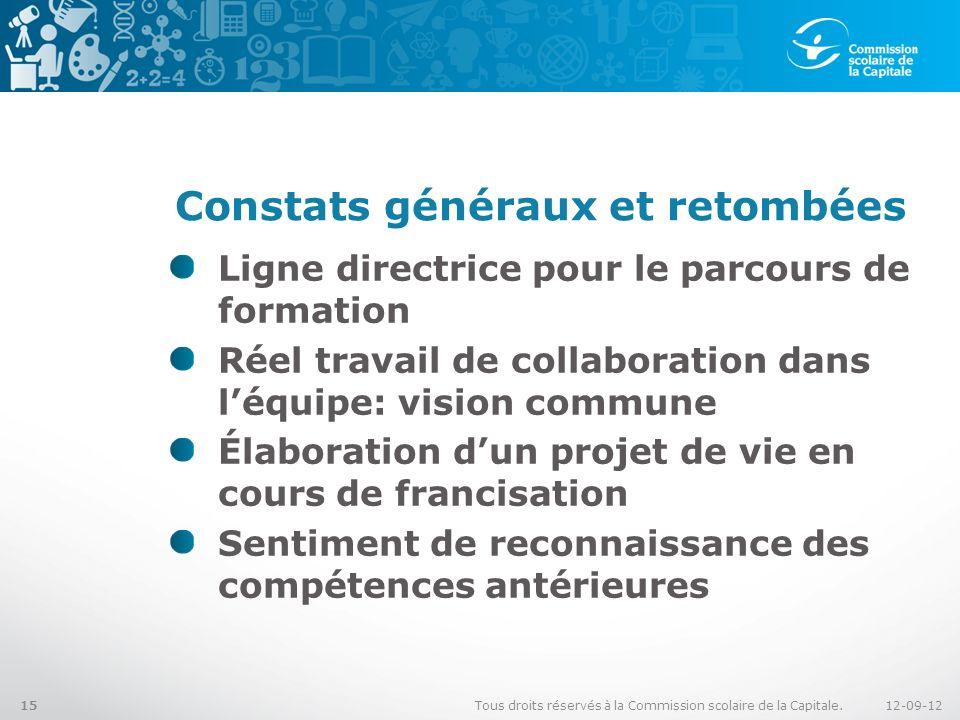 Constats généraux et retombées Ligne directrice pour le parcours de formation Réel travail de collaboration dans léquipe: vision commune Élaboration d