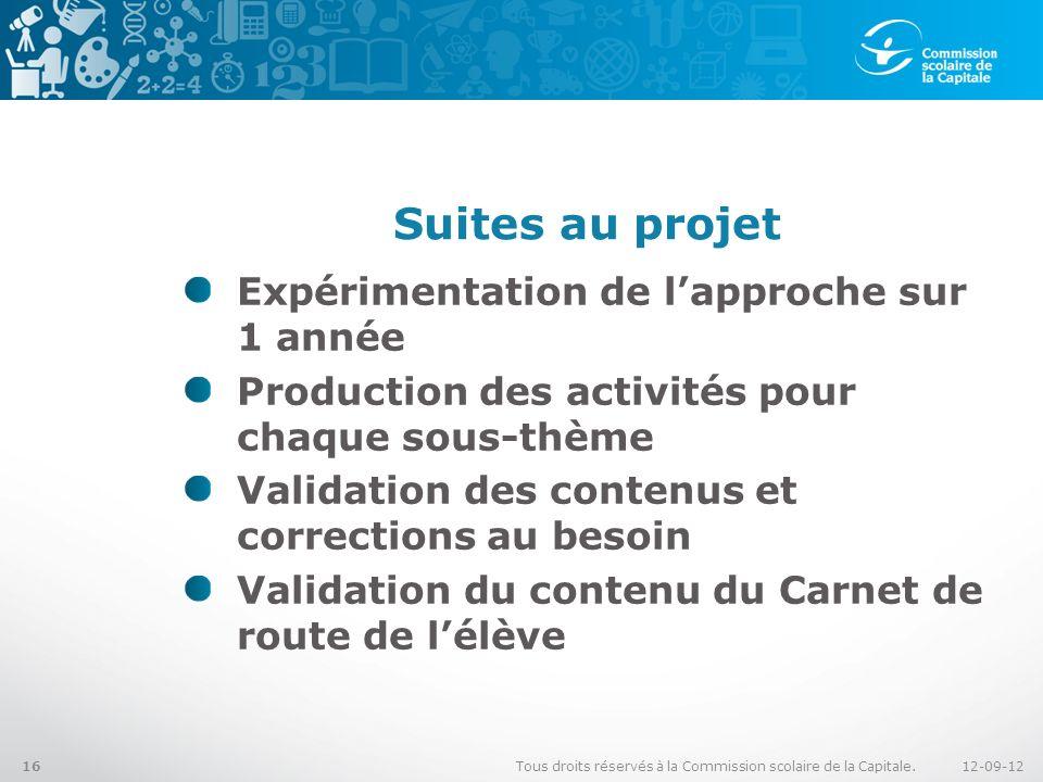 Suites au projet Expérimentation de lapproche sur 1 année Production des activités pour chaque sous-thème Validation des contenus et corrections au be
