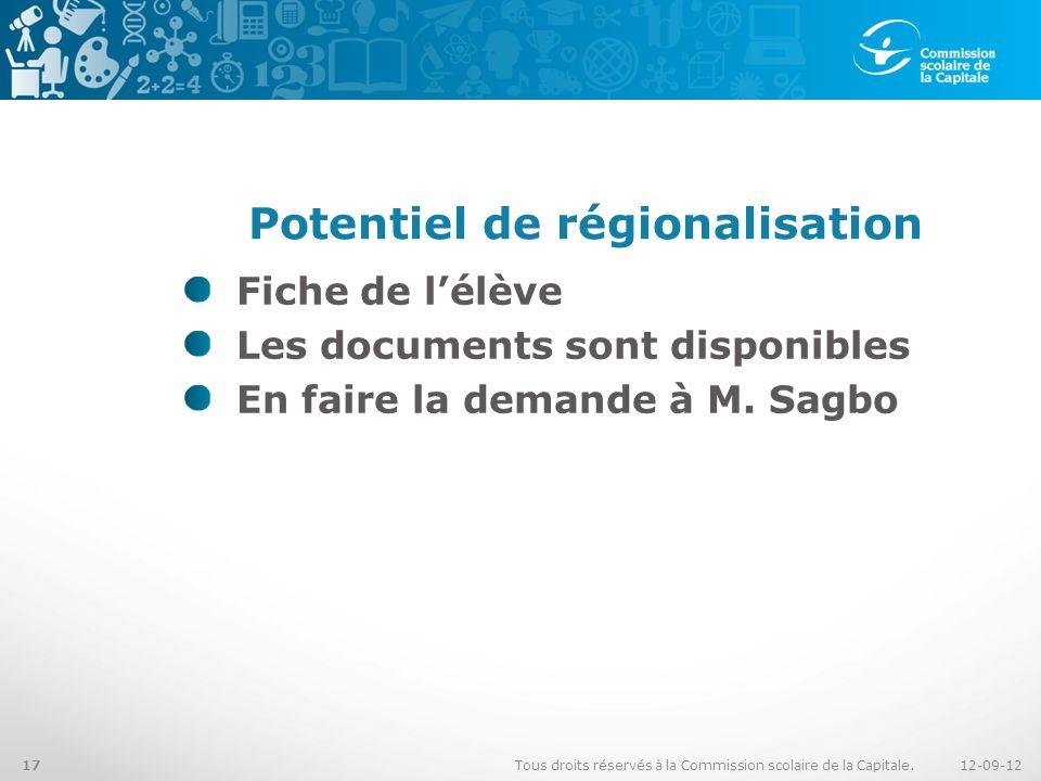 Potentiel de régionalisation Fiche de lélève Les documents sont disponibles En faire la demande à M. Sagbo 12-09-12Tous droits réservés à la Commissio