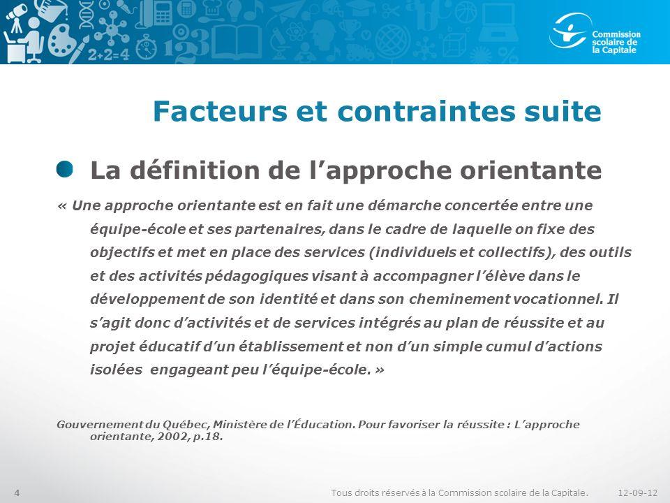 Facteurs et contraintes suite La définition de lapproche orientante « Une approche orientante est en fait une démarche concertée entre une équipe-écol