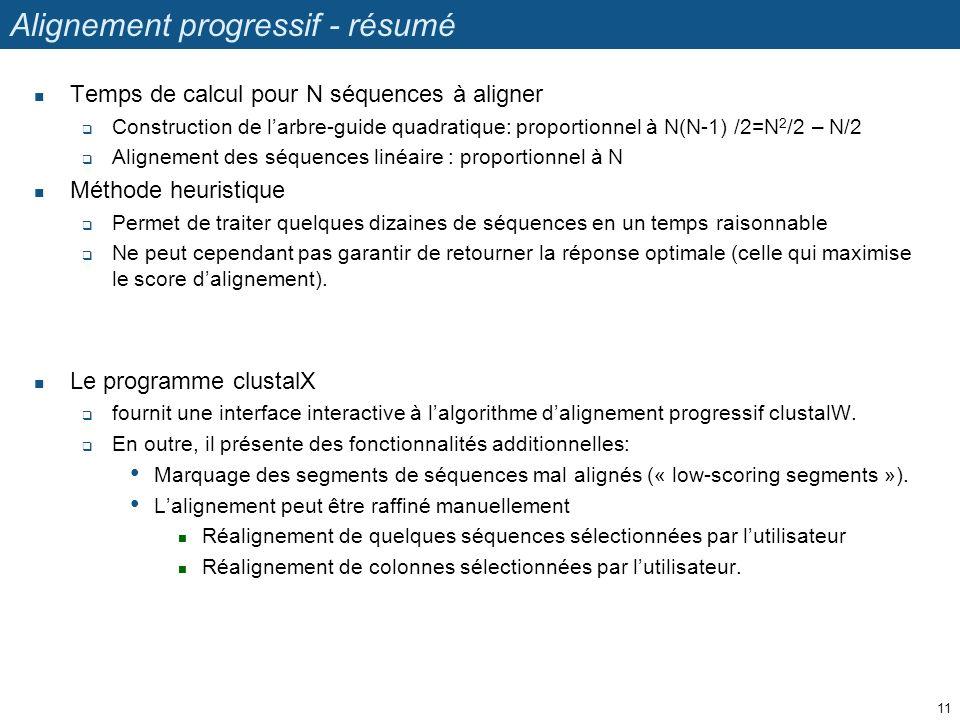 Alignement progressif - résumé Temps de calcul pour N séquences à aligner Construction de larbre-guide quadratique: proportionnel à N(N-1) /2=N 2 /2 –