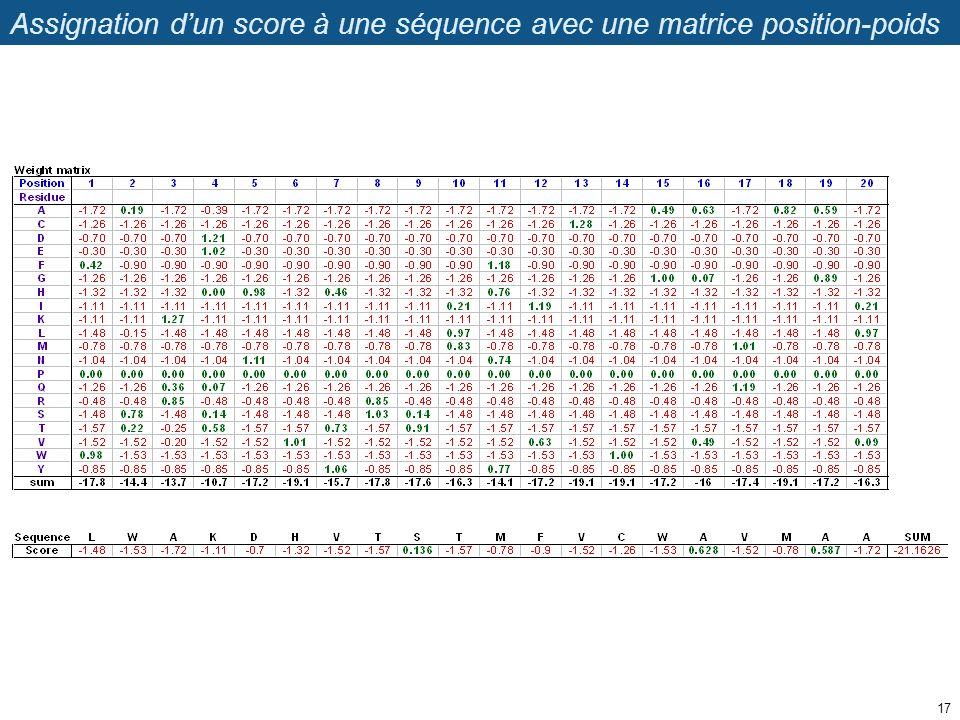 Assignation dun score à une séquence avec une matrice position-poids 17