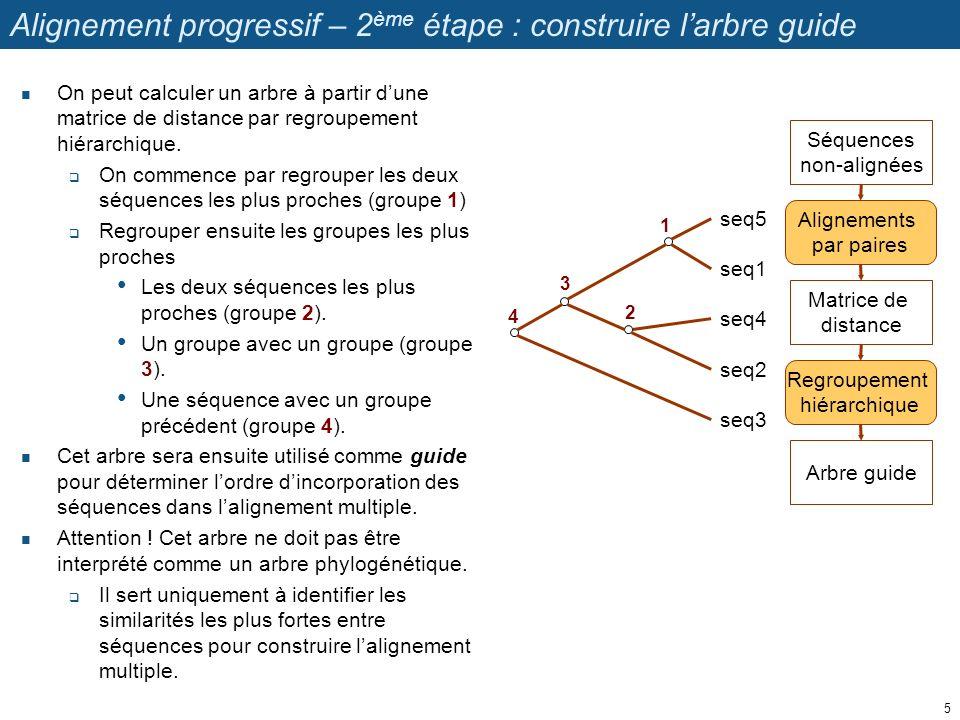 Alignement progressif – 3 ème étape: alignement multiple On construit un alignement multiple en incorporant progressivement les séquences selon leur ordre de branchement dans larbre guide, en remontant des plus proches aux plus éloignées.