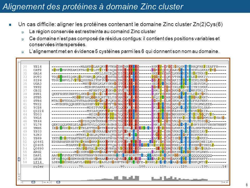 Alignement des protéines à domaine Zinc cluster Un cas difficile: aligner les protéines contenant le domaine Zinc cluster Zn(2)Cys(6) La région conservée est restreinte au comaind Zinc cluster Ce domaine nest pas composé de résidus contigus: il contient des positions variables et conservées interspersées.
