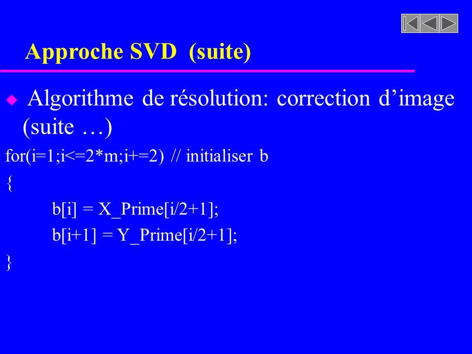 Approche SVD (suite) u Algorithme de résolution: correction dimage (suite …) for(i=1;i<=2*m;i+=2) // initialiser b { b[i] = X_Prime[i/2+1]; b[i+1] = Y