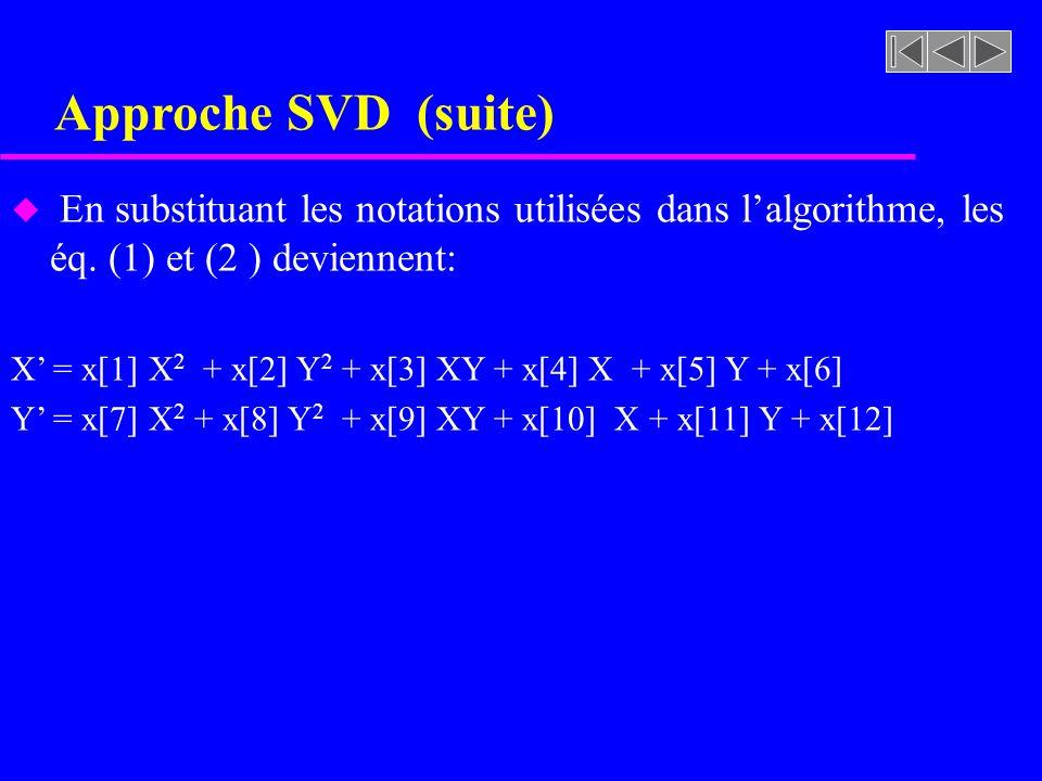 Approche SVD (suite) u En substituant les notations utilisées dans lalgorithme, les éq. (1) et (2 ) deviennent: X = x[1] X 2 + x[2] Y 2 + x[3] XY + x[