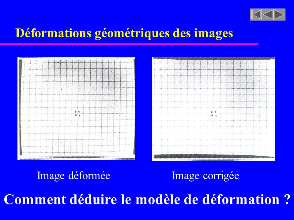 Étalonnage de caméra u Algorithme de résolution: étalonnage de caméra int X[20],Y[20], Z[20],U[20],V[20]; float wmax, wmin, **a,**u,*w,**v,*b,*x int i,j,minPos; // selectionner un minimum de 6 points de contrôle ….// selectionner un maximum de 20 points de contrôle ….// correspondance en chaque pixel (u,v) et point dans lespace 3D (X,Y,Z) a = matrix(1,2*m,1,12); // matrice A de 2mX12 u = matrix(1,2*m,1,12); // m: nombre de points de contrôle w = matrix(1,12,1,12); v = matrix(1,12,1,12); b = vector(1,2*m); x = vector(1,12); // vecteur des soln …..