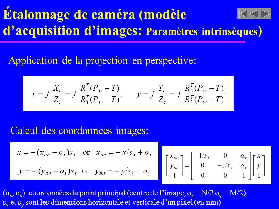 Étalonnage de caméra (modèle dacquisition dimages: Paramètres intrinsèques ) Application de la projection en perspective: Calcul des coordonnées image