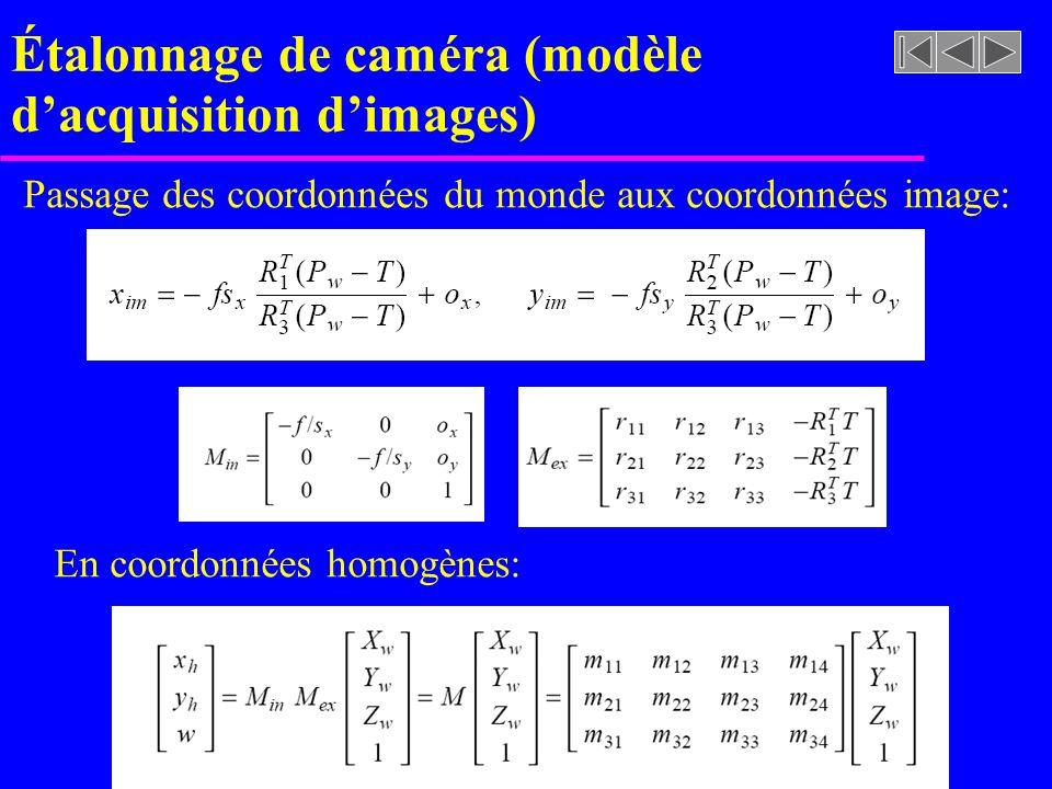 Étalonnage de caméra (modèle dacquisition dimages) Passage des coordonnées du monde aux coordonnées image: En coordonnées homogènes: