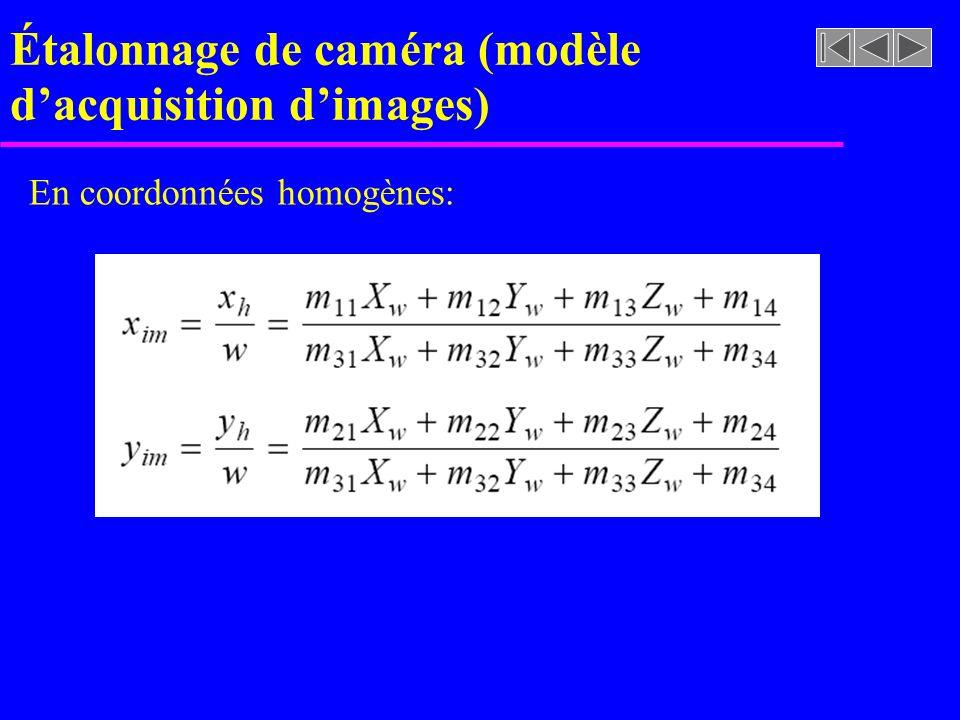 Étalonnage de caméra (modèle dacquisition dimages) En coordonnées homogènes: