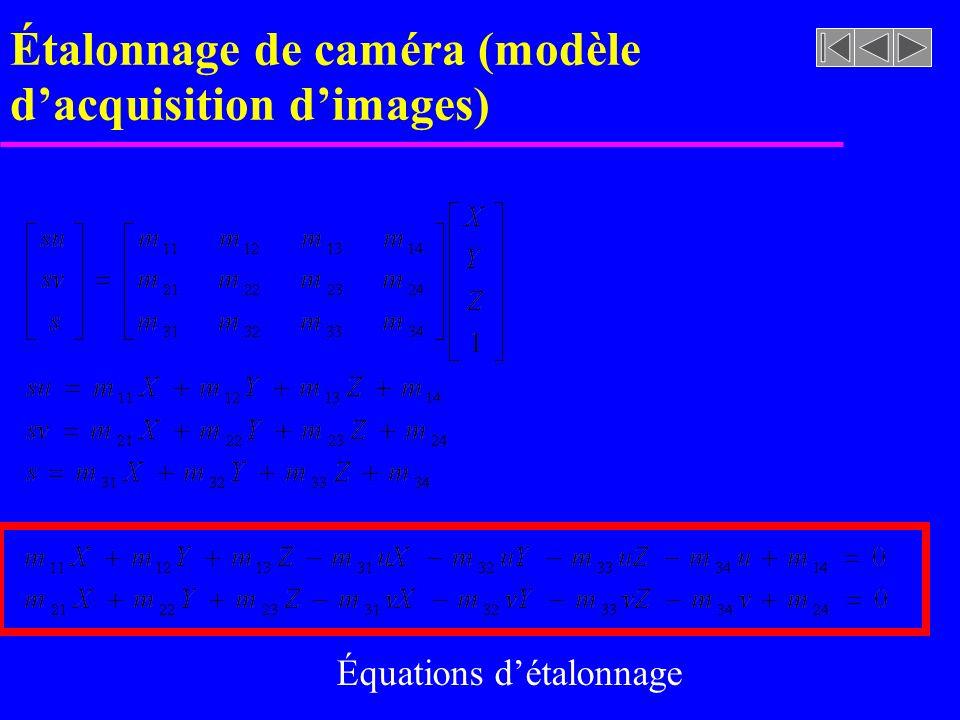 Étalonnage de caméra (modèle dacquisition dimages) Équations détalonnage