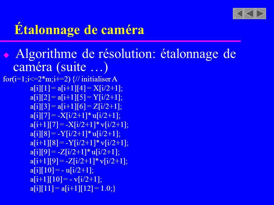 Étalonnage de caméra u Algorithme de résolution: étalonnage de caméra (suite …) for(i=1;i<=2*m;i+=2) {// initialiser A a[i][1] = a[i+1][4] = X[i/2+1];