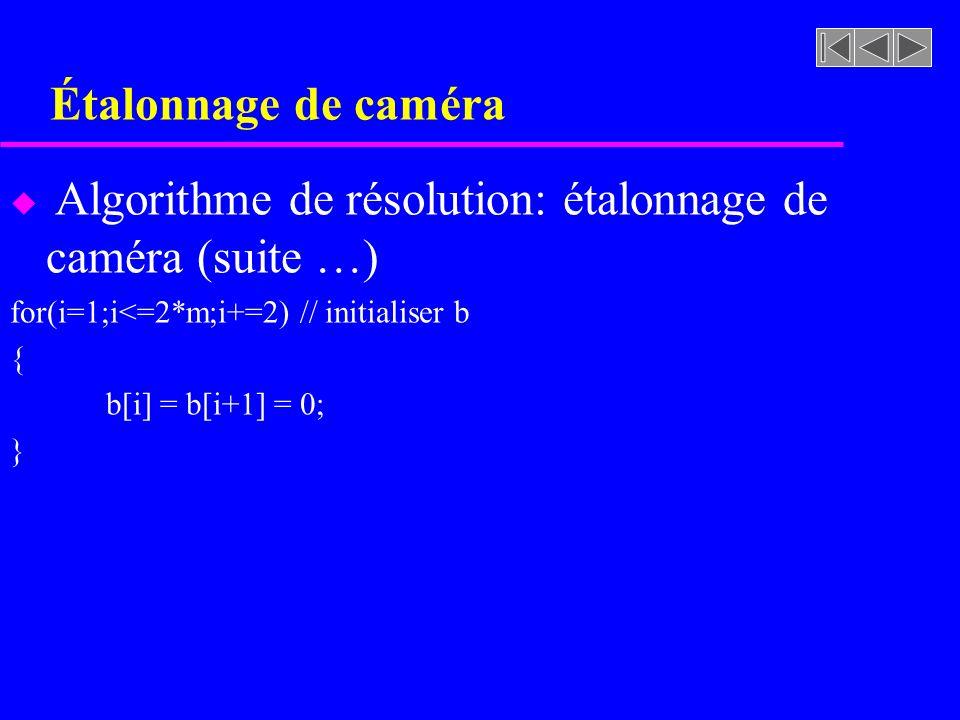Étalonnage de caméra u Algorithme de résolution: étalonnage de caméra (suite …) for(i=1;i<=2*m;i+=2) // initialiser b { b[i] = b[i+1] = 0; }