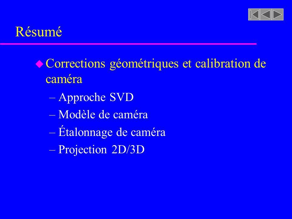 Résumé u Corrections géométriques et calibration de caméra –Approche SVD –Modèle de caméra –Étalonnage de caméra –Projection 2D/3D