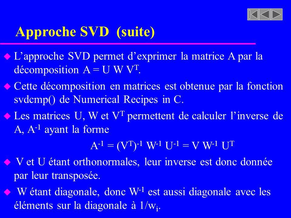 Approche SVD (suite) u Lapproche SVD permet dexprimer la matrice A par la décomposition A = U W V T. u Cette décomposition en matrices est obtenue par