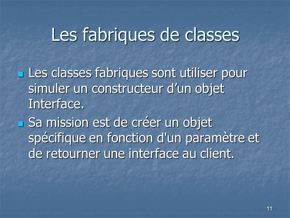 11 Les fabriques de classes Les classes fabriques sont utiliser pour simuler un constructeur dun objet Interface.