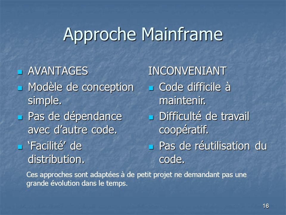 16 Approche Mainframe AVANTAGES AVANTAGES Modèle de conception simple.