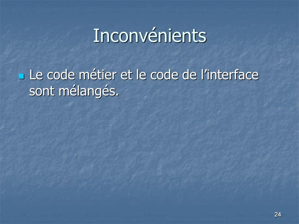 24 Inconvénients Le code métier et le code de linterface sont mélangés.