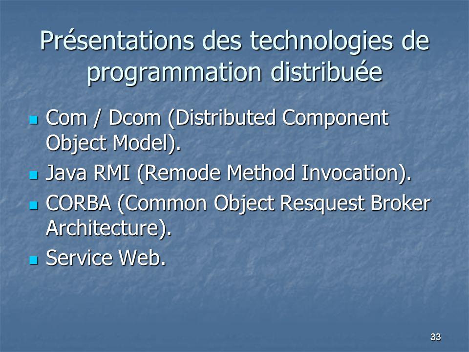 33 Présentations des technologies de programmation distribuée Com / Dcom (Distributed Component Object Model).