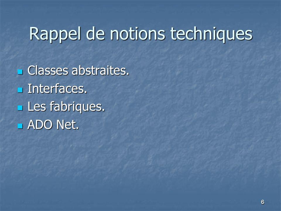 6 Rappel de notions techniques Classes abstraites.
