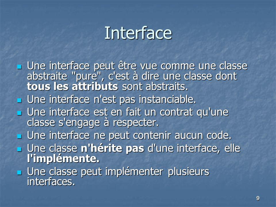 9 Interface Une interface peut être vue comme une classe abstraite pure , c est à dire une classe dont tous les attributs sont abstraits.