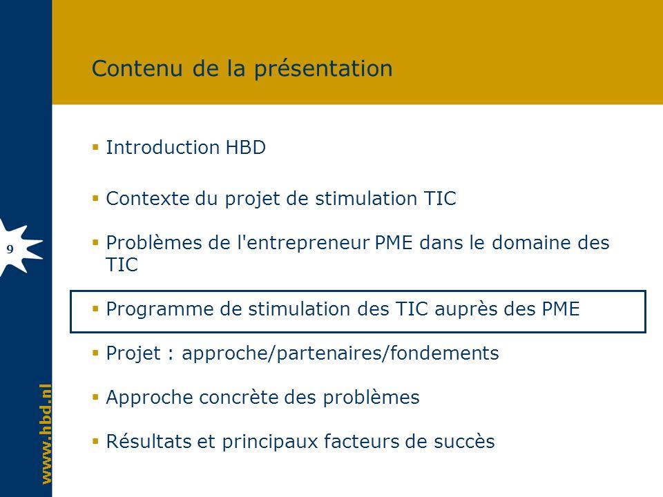 www.hbd.nl 9 Contenu de la présentation Introduction HBD Contexte du projet de stimulation TIC Problèmes de l'entrepreneur PME dans le domaine des TIC