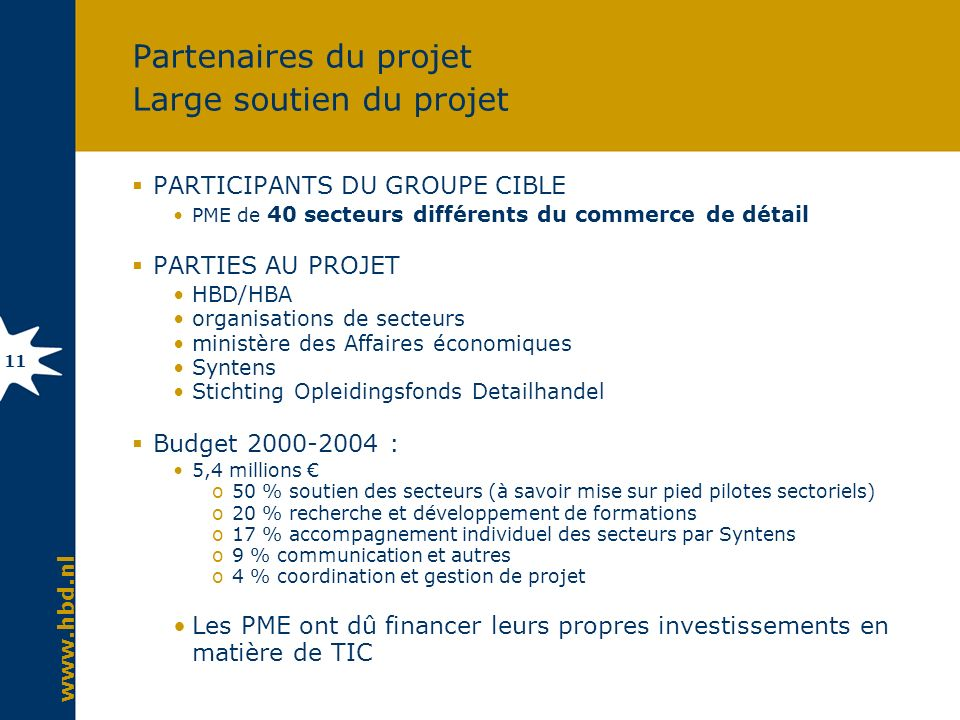 www.hbd.nl 11 Partenaires du projet Large soutien du projet PARTICIPANTS DU GROUPE CIBLE PME de 40 secteurs différents du commerce de détail PARTIES A