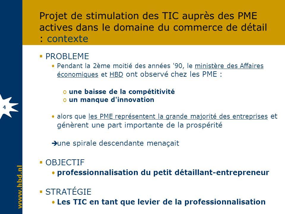 www.hbd.nl 4 Projet de stimulation des TIC auprès des PME actives dans le domaine du commerce de détail : contexte PROBLEME Pendant la 2ème moitié des