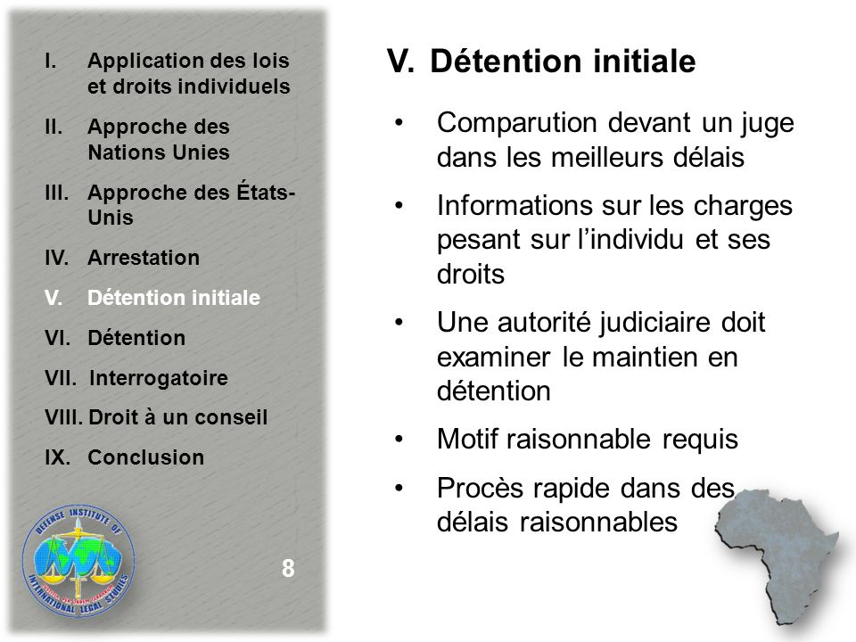 VI.Détention Communication avec la famille Avocat Visites Surveillance Registres 9 I.Application des lois et droits individuels II.Approche des Nations Unies III.
