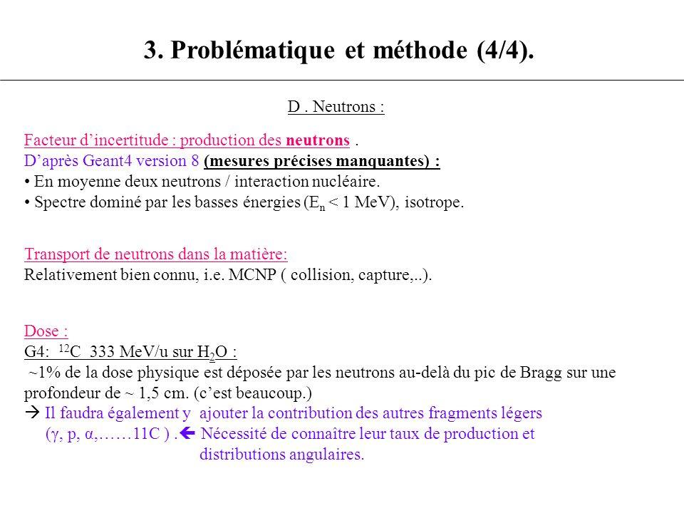 3. Problématique et méthode (4/4). D. Neutrons : Facteur dincertitude : production des neutrons. Daprès Geant4 version 8 (mesures précises manquantes)
