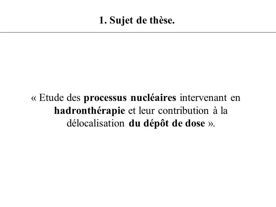 « Etude des processus nucléaires intervenant en hadronthérapie et leur contribution à la délocalisation du dépôt de dose ». 1. Sujet de thèse.