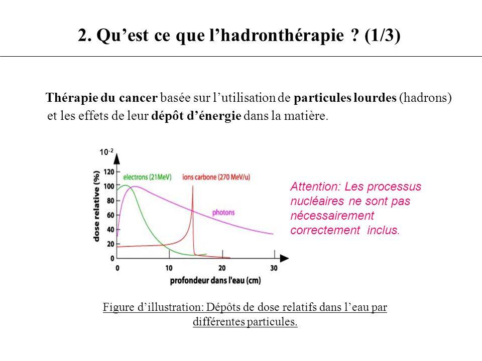 Thérapie du cancer basée sur lutilisation de particules lourdes (hadrons) et les effets de leur dépôt dénergie dans la matière. Figure dillustration: