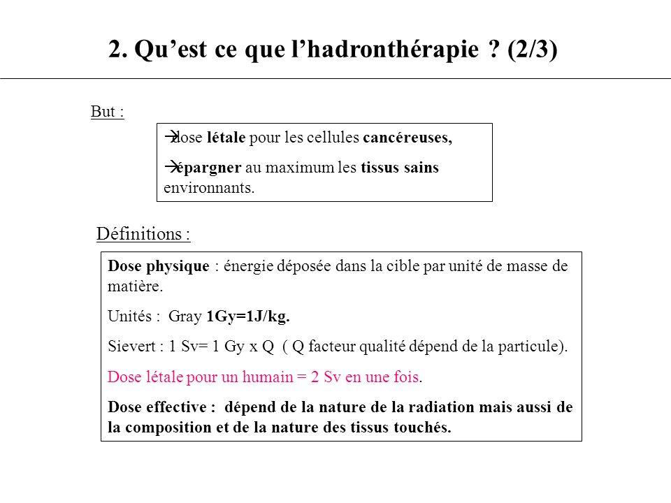 Dose physique : énergie déposée dans la cible par unité de masse de matière. Unités : Gray 1Gy=1J/kg. Sievert : 1 Sv= 1 Gy x Q ( Q facteur qualité dép