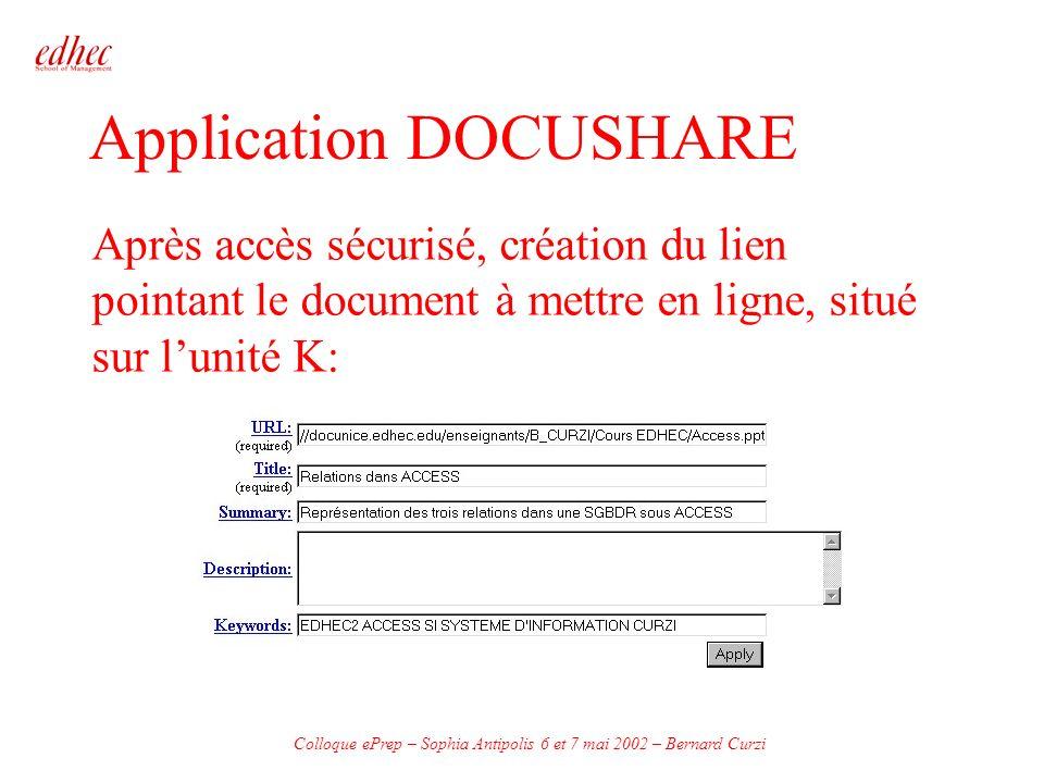 Colloque ePrep – Sophia Antipolis 6 et 7 mai 2002 – Bernard Curzi Application DOCUSHARE Après accès sécurisé, création du lien pointant le document à mettre en ligne, situé sur lunité K:
