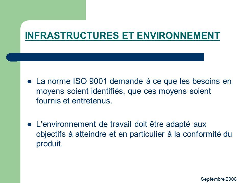 Septembre 2008 INFRASTRUCTURES ET ENVIRONNEMENT La norme ISO 9001 demande à ce que les besoins en moyens soient identifiés, que ces moyens soient four