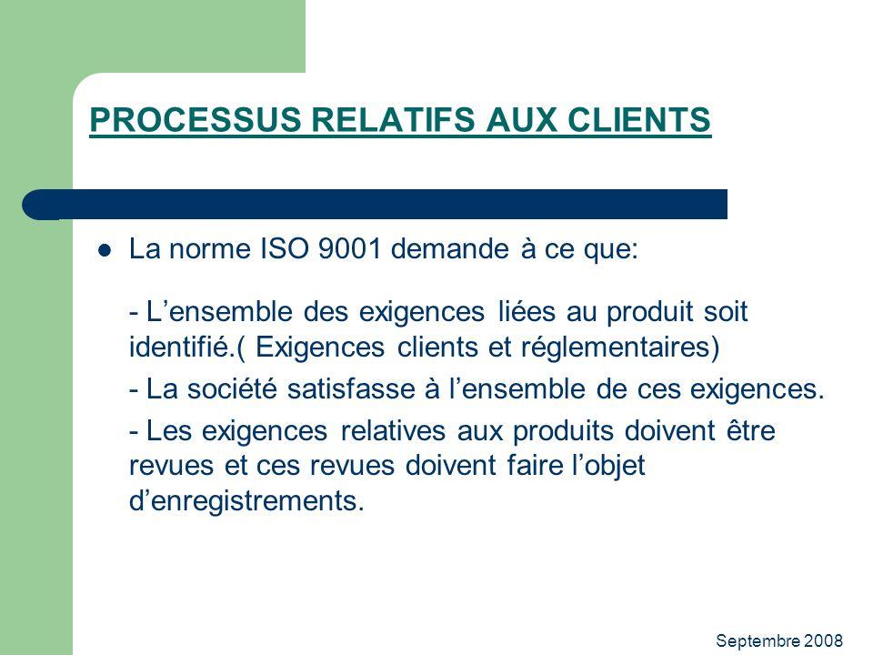 Septembre 2008 PROCESSUS RELATIFS AUX CLIENTS La norme ISO 9001 demande à ce que: - Lensemble des exigences liées au produit soit identifié.( Exigence