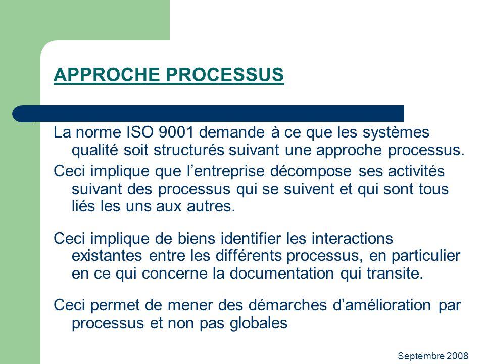 Septembre 2008 APPROCHE PROCESSUS La norme ISO 9001 demande à ce que les systèmes qualité soit structurés suivant une approche processus. Ceci impliqu