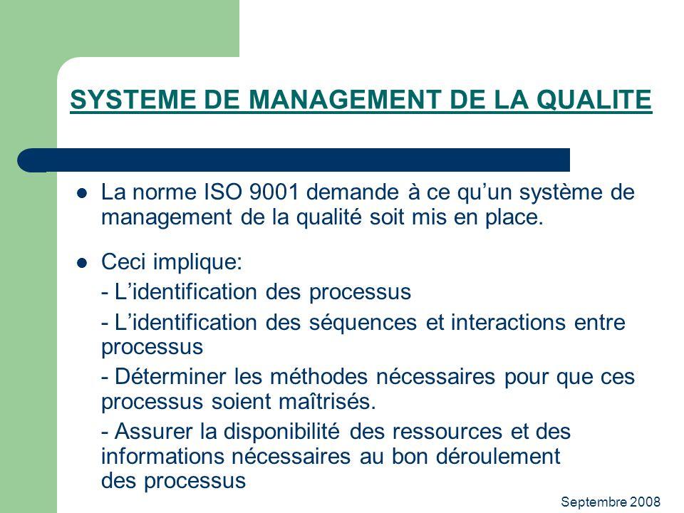 Septembre 2008 SYSTEME DE MANAGEMENT DE LA QUALITE La norme ISO 9001 demande à ce quun système de management de la qualité soit mis en place. Ceci imp