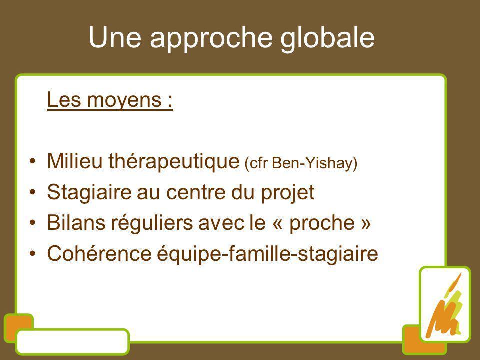 Une approche globale Les moyens : Milieu thérapeutique (cfr Ben-Yishay) Stagiaire au centre du projet Bilans réguliers avec le « proche » Cohérence équipe-famille-stagiaire