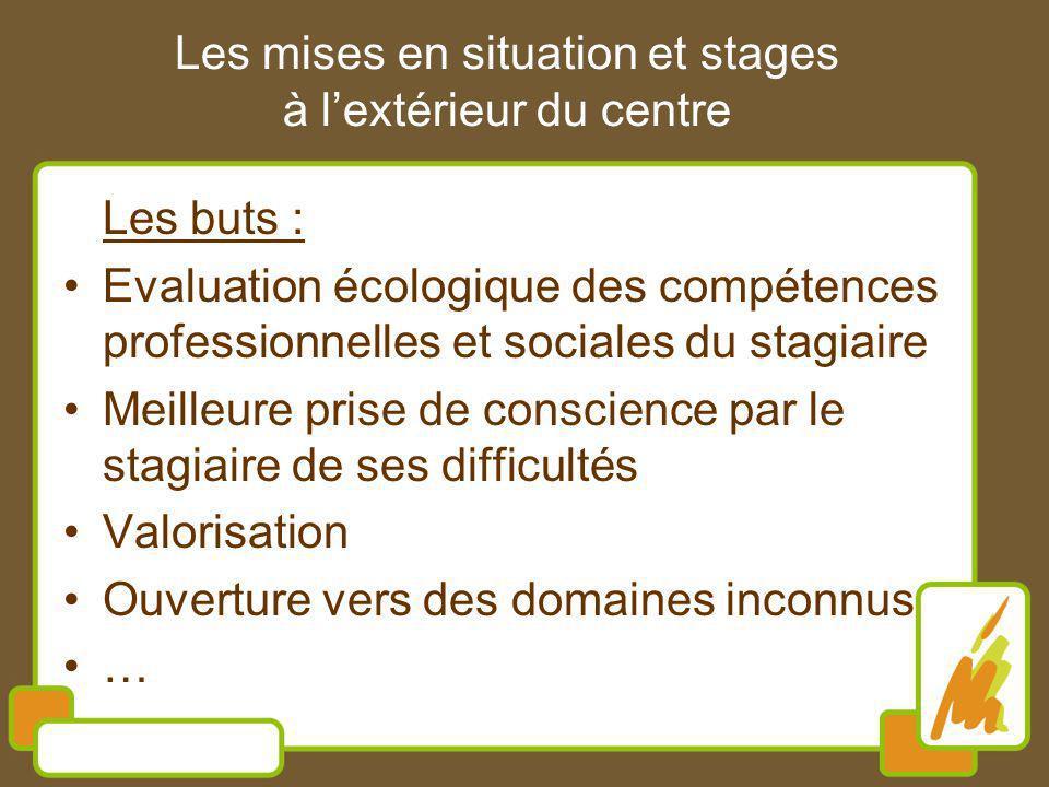 Les buts : Evaluation écologique des compétences professionnelles et sociales du stagiaire Meilleure prise de conscience par le stagiaire de ses diffi