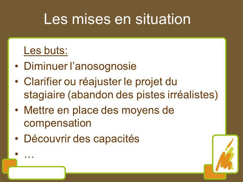 Les mises en situation Les buts: Diminuer lanosognosie Clarifier ou réajuster le projet du stagiaire (abandon des pistes irréalistes) Mettre en place