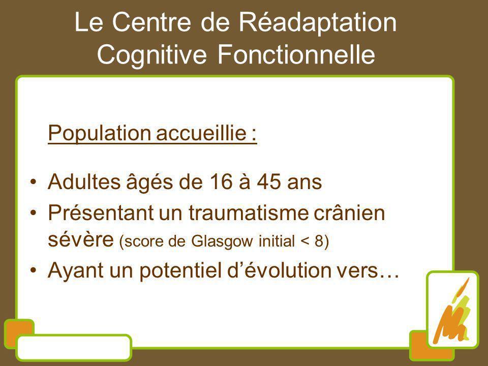 Le Centre de Réadaptation Cognitive Fonctionnelle Population accueillie : Adultes âgés de 16 à 45 ans Présentant un traumatisme crânien sévère (score de Glasgow initial < 8) Ayant un potentiel dévolution vers…