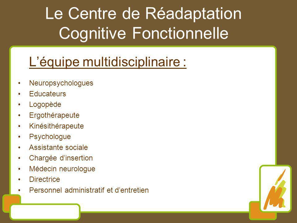 Le Centre de Réadaptation Cognitive Fonctionnelle Léquipe multidisciplinaire : Neuropsychologues Educateurs Logopède Ergothérapeute Kinésithérapeute P