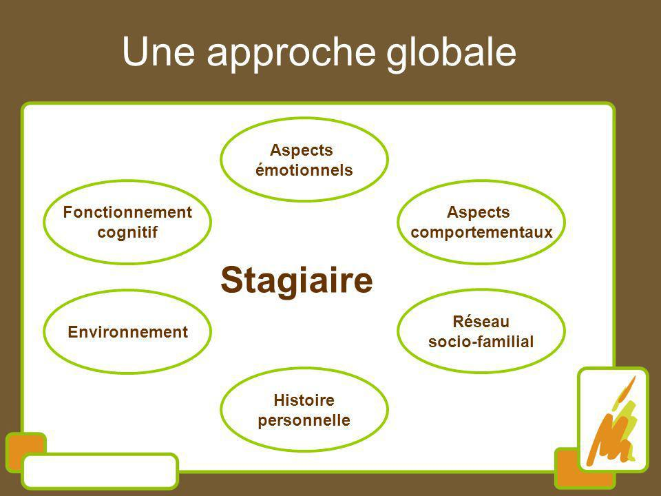 Une approche globale Stagiaire Aspects comportementaux Aspects émotionnels Fonctionnement cognitif Environnement Réseau socio-familial Histoire person