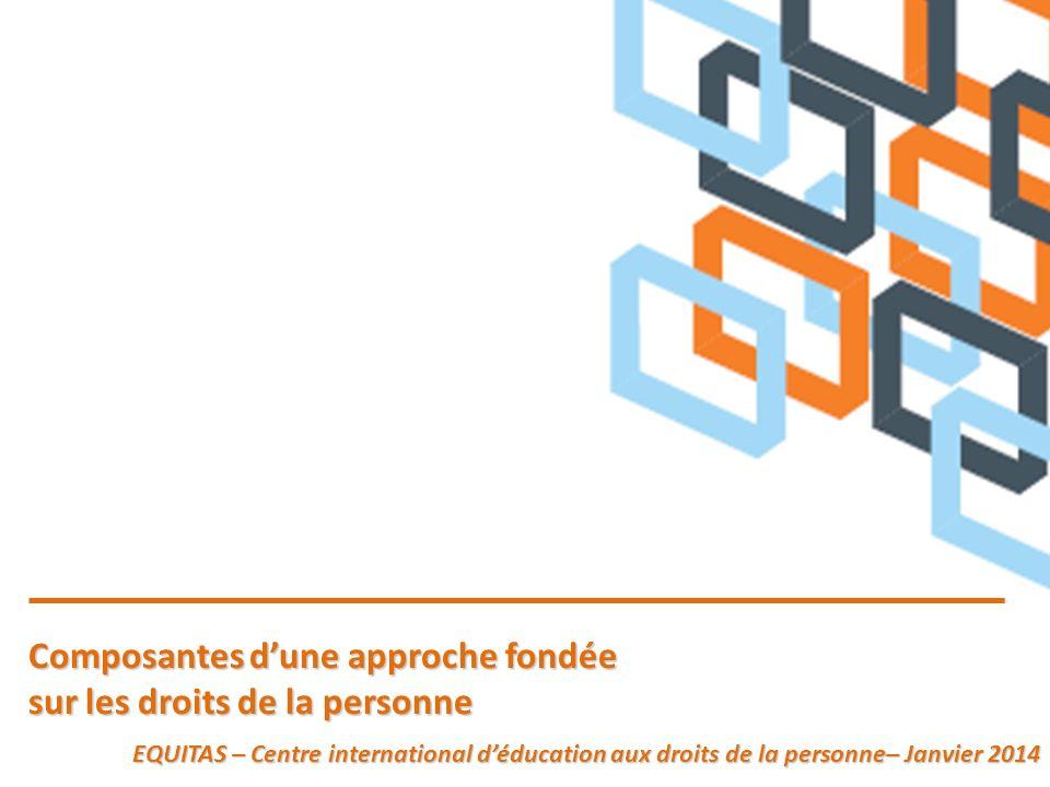 Composantes dune approche fondée Composantes dune approche fondée sur les droits de la personne sur les droits de la personne EQUITAS – Centre interna