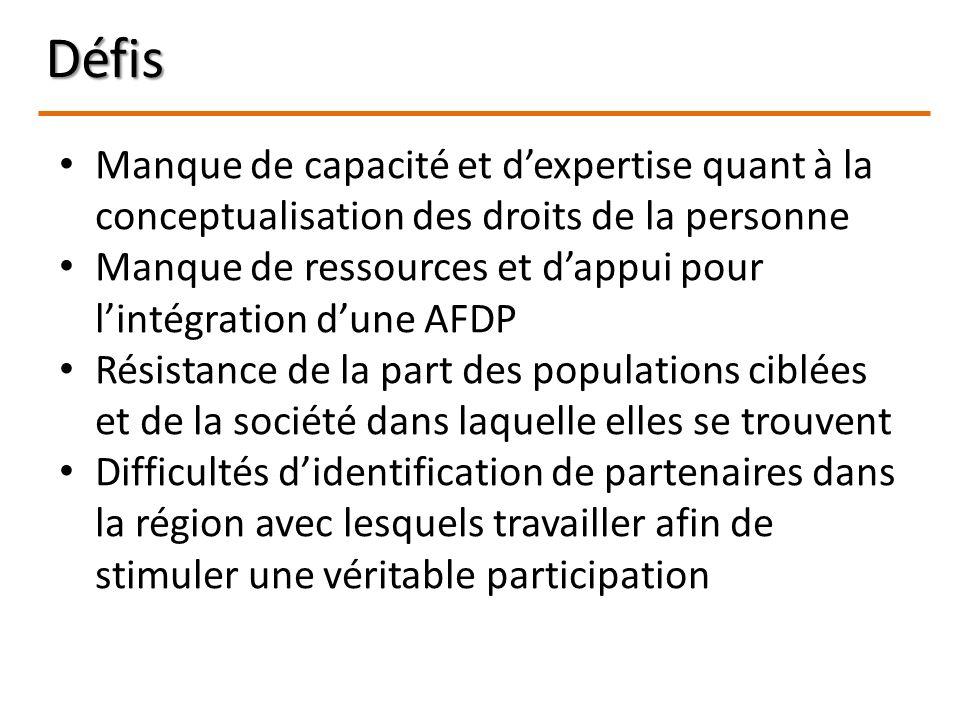Défis Manque de capacité et dexpertise quant à la conceptualisation des droits de la personne Manque de ressources et dappui pour lintégration dune AF